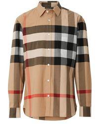 Burberry - Check Stretch Cotton Shirt - Lyst