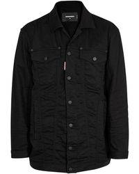 DSquared² - Be Cool Be Nice Black Denim Jacket - Lyst