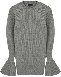 Eudon Choi Kaya Gray Open-back Stretch-knit Sweater