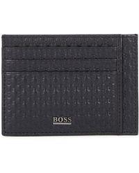 BOSS by Hugo Boss Crosstown Navy Leather Card Holder - Blue