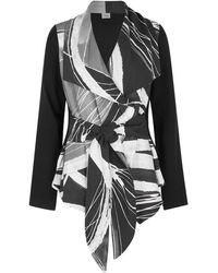 Crea Concept Monochrome Draped Belted Jacket - Black