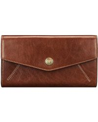 Maxwell Scott Bags Maxwell Scott Italian Leather Purse With Ball Clasp - Brown