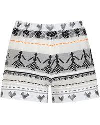Devotion Iro Embroidered Cotton Shorts - White