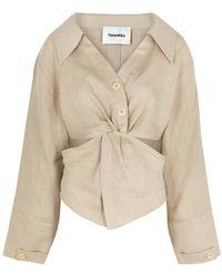 Nanushka Rasha Stone Twist-effect Linen Shirt - Natural