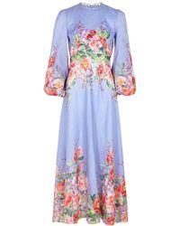 Zimmermann Floral-print Linen Maxi Dress - Blue