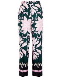 Max Mara Floral-print Silk Pants - Green