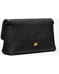 Michael Kors Carole Hand-woven Leather Foldover Clutch - Black