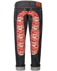 Evisu Regular-fit Denim Jeans With Kamon Scale-embroidered Daicock Insert - Blue
