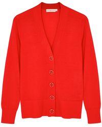 Tory Burch Simone Red Merino Wool Cardigan