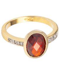 Susan Caplan Oval Faux Topaz Ring - Metallic