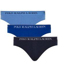Polo Ralph Lauren Blue Stretch-cotton Briefs - Set Of Three