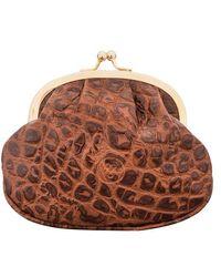 Maxwell Scott Bags Crocodile Print Brown Leather Ball Clasp Coin Purse