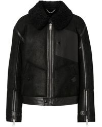 Burberry Shearling And Leather Jacket - Black