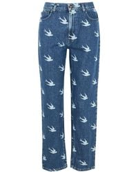 McQ Blue Swallow-print Straight-leg Jeans
