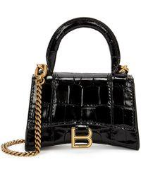 Balenciaga Hourglass Mini Black Leather Cross-body Bag