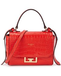 Givenchy Eden Mini Red Crocodile-effect Top Handle Bag
