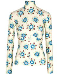 Paco Rabanne Floral-print Stretch-jersey Top - Natural