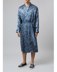 Meng Men S Grey Printed Silk Satin Dressing Gown - Blue