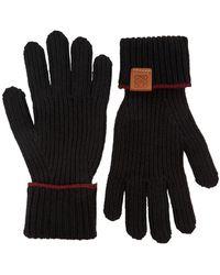 Loewe Black Ribbed Wool Gloves