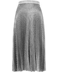 Christopher Kane Silver Foil-print Pleated Midi Skirt - Black