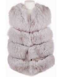 Popski London Chelsea Fox Fur Gilet In Cloud Grey