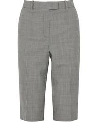 Givenchy Monochrome Houndstooth Wool Shorts - Gray