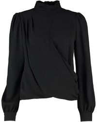 MICHAEL Michael Kors Crepe Draped Blouse - Black