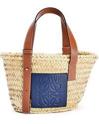 Loewe X Paula's Ibiza Small Sand Raffia Basket Bag - Blue