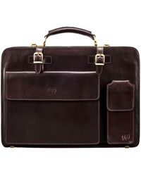 Maxwell Scott Bags Maxwell Scott Mens Classic Leather Briefcase - Brown