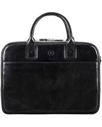 Maxwell Scott Bags Luxury Black Leather Soft Briefcase For Men