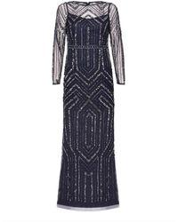Adrianna Papell Geo Beaded Maxi Dress - Blue