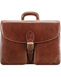 Maxwell Scott Bags Maxwell Scott Smart Italian Leather Large Briefcase - Tomacelli Tan - Brown