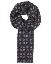 Lardini - Brown Floral-print Wool Scarf - Lyst
