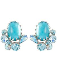 Susan Caplan 1950s Vintage Swarovski Crystal Clip-on Earrings - Blue