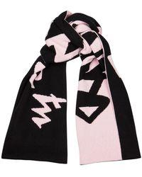 Off-White c/o Virgil Abloh Black And Pink Logo-intarsia Wool Scarf
