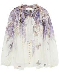 Zimmermann Luminous Printed Silk-georgette Blouse - White