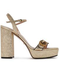 Gucci GG Platform Leather Sandal - Metallic