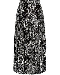 Traffic People Goldfinger Printed A-line Midi Skirt In Black And White