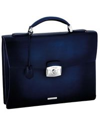 S.t. Dupont One Gusset Briefcase Leather - Blue