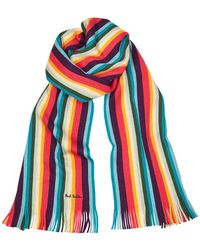 Paul Smith Striped Wool Scarf - Red