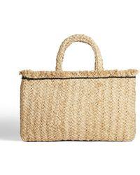 Jigsaw Raffia Straw Rectangular Bag - Natural