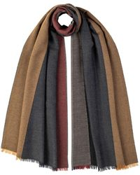 Johnstons Reversible Stripe Silk Cashmere Scarf Navy & Charcoal - Blue