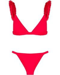 Moré Noir Red Ruffle-trimmed Triangle Bikini