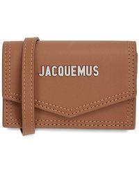 Jacquemus Le Porte Azur Rust Leather Card Holder - Brown