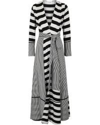 We Are Leone Monochrome Striped Silk Maxi Jacket - Black