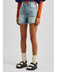 Gucci Light Blue Distressed Denim Shorts