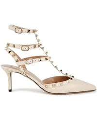 Valentino - Rockstud 65 Ivory Grained Leather Court Shoes - Lyst