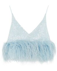 16Arlington Poppy Blue Feather-trimmed Sequin Top