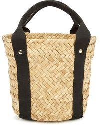 Kayu Colbie Mini Woven Straw Basket Bag - Black