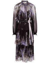 Zimmermann - Botanica Floral-print Silk-chiffon Midi Dress - Lyst